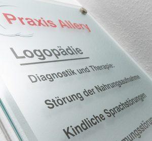 Eingangsschild - Praxis Allery für Logopädie und Physiotherapie in Hamm.